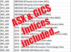 Easy Load ASX includes the ASX 20, ASX 50, ASX 100, ASX 200 (XJO), ASX 300 and All Ords (XAO) index, plus 12 GICS indices.