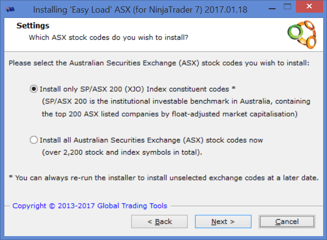 Easy Load ASX for NinjaTrader - View over 2,200 stocks with ease
