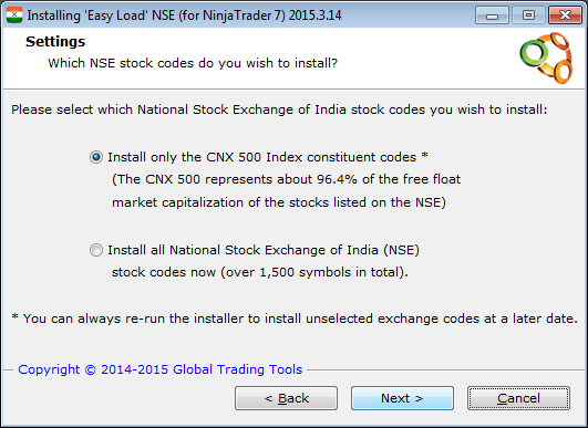 Easy Load NSE for NinjaTrader - View over 1,500 Indian stocks with ease